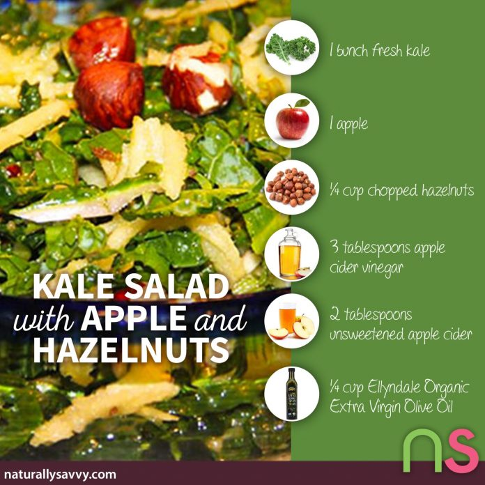 Kale Salad Recipe with Apple and Hazelnuts