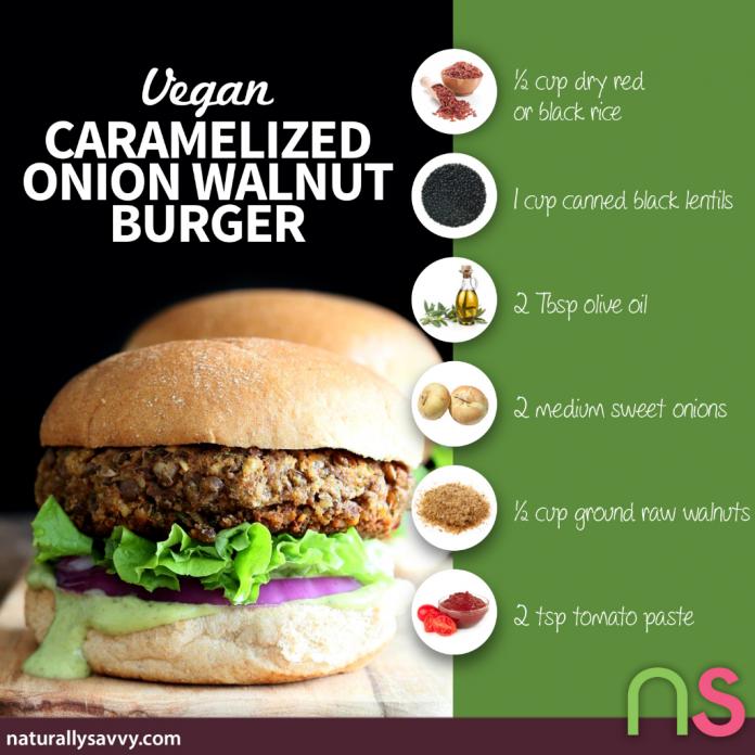 Caramelized Onion Walnut Burger (Vegan) 2