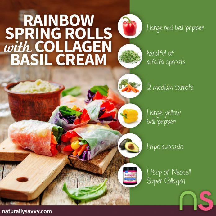 Rainbow Spring Rolls with Collagen Basil Cream 2
