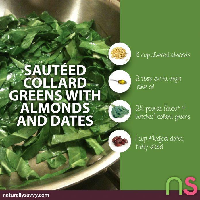 Sautéed Collard Greens Recipe with Almonds and Dates