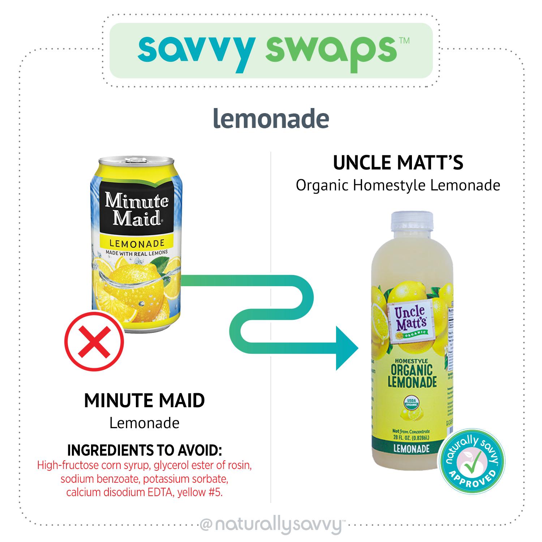 Savvy Swap Minute Maid Lemonade and Uncle Matt's organic Lemonade