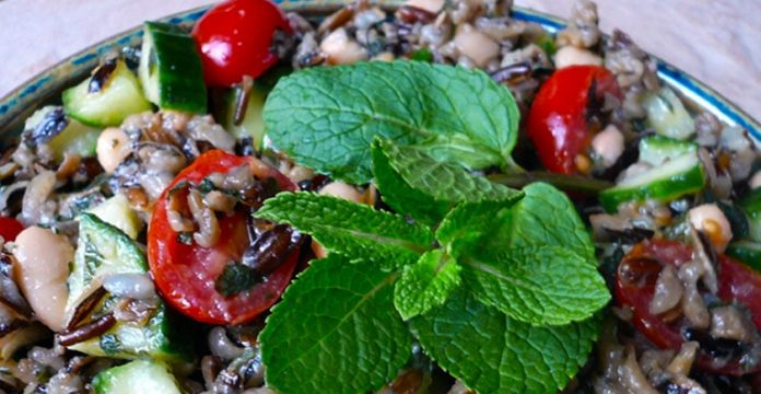 Wild Rice Salad Recipe with Mint and Pink Salt
