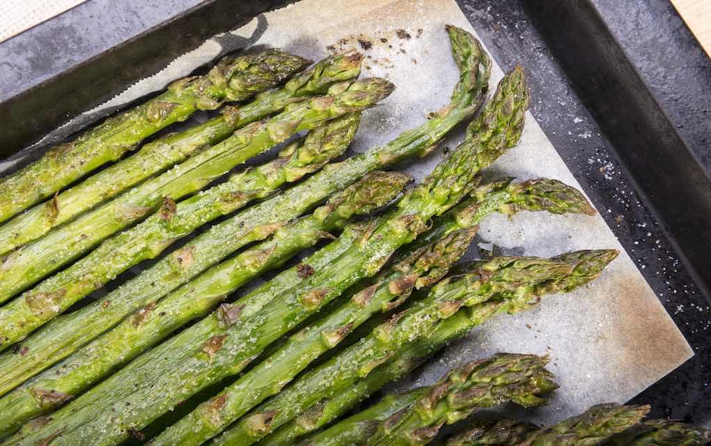 Freshly grilled asparagus