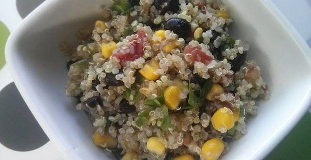 Quinoa Salad Recipe with Black Bean and Organic Corn Relish
